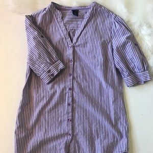 Purple and white striped Oxford blouse